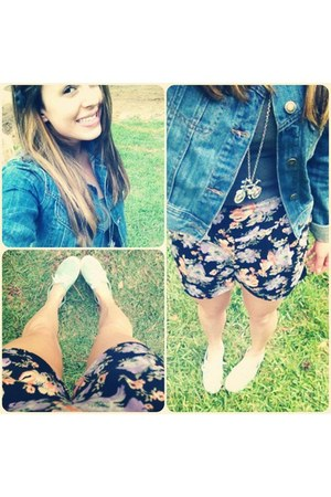 denim Forever 21 jacket - mint green H&M shoes - Urban Outfitters shorts