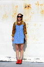 Red-leather-zip-up-anthropologie-boots-sky-blue-denim-jumper-vintage-dress