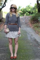 polka dot Forever21 dress - loafers vintage shoes - striped Jcrew sweater