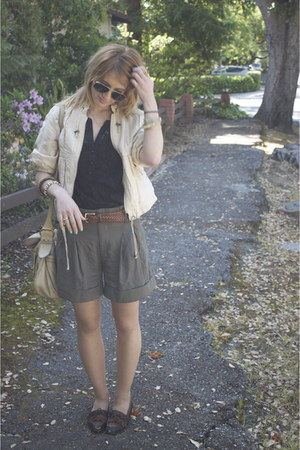brown loafers vintage shoes - off white light weight River Island jacket - heath