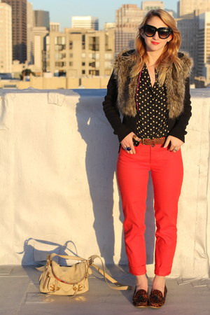 red trouser Anthropologie pants - dark brown leopard loafer Dolce Vita shoes