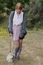 Light-purple-pleated-mini-forever21-dress-white-polka-dot-vintage-blouse