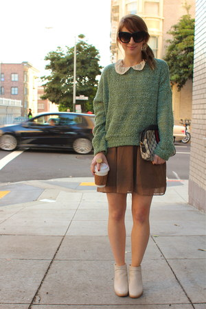 teal soft Forever21 sweater - off white ankle booties Rachel Comey shoes