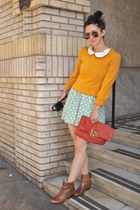 mustard zip Marc Jacobs sweater - turquoise blue polka dot vintage dress