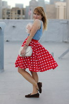 red polka dot vintage skirt - dark brown loafers Dolce Vita shoes