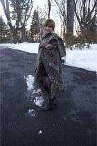 black stud boots Stuart Weitzmen boots - black velvet tunic Betsey Johnson dress