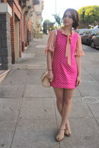 peach sheer Forever21 blouse - hot pink polka dots vintage dress