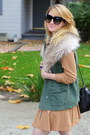 Army-green-army-anthropologie-vest-tan-leopard-booties-betsey-johnson-shoes