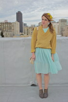 aquamarine sheer pleated vintage dress - heather gray lace up Rachel Comey shoes