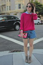 Sky-blue-tie-forever21-shorts-hot-pink-knit-h-m-sweater
