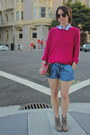 Hot-pink-knit-h-m-sweater-sky-blue-tie-forever21-shorts
