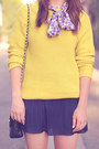 Navy-pleated-mini-forever21-skirt-mustard-knit-forever21-sweater