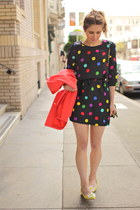light yellow daisy Vintage Moschino shoes - black polka dot kate spade dress