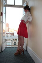 white vintage blouse - red Ella Moss skirt - brown Jeffrey Campbell shoes - gray