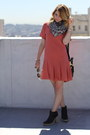 Salmon-drop-waist-madewell-dress-black-leather-gap-boots