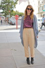 Peach-trouser-thrifted-pants-black-ankle-boot-mtng-shoes