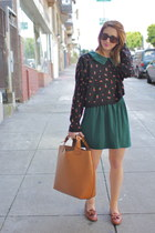 dark green vintage dress - light brown loafers vintage shoes