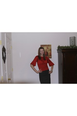 brick red Forever 21 blouse - black Forever 21 skirt