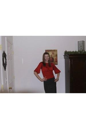 brick red Forever 21 blouse - black Forever 21 skirt