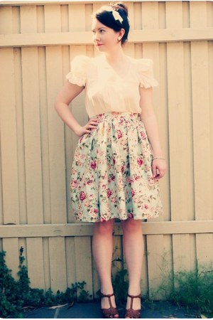 Sportsgirl blouse - handmade skirt - Country Road heels