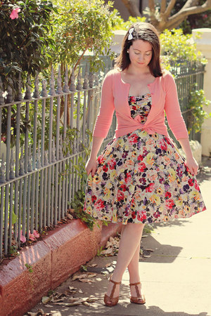 yellow floral 50s Review dress - light orange coral cardigan SES cardigan