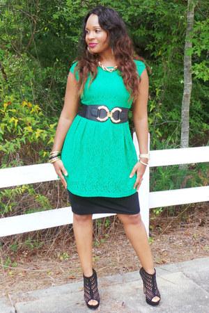 green Forever 21 blouse - black Aldo heels - black Target skirt