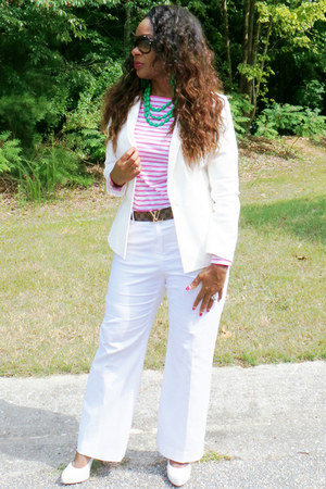 white BCBG heels - pink and white JCPenney shirt - black Michael Kors sunglasses