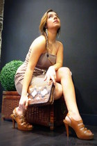 leather Cuple shoes - cotton Cuple dress - leather Cuple bag