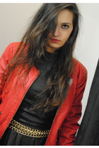 red leather jacket Zara jacket - black leather Cuple dress