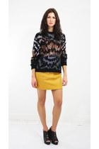 sequin cotton vintage sweater - leather vintage skirt
