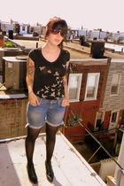black Tea Party top - blue H&M shorts - black walgreens tights - black vintage s