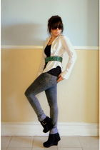 black H&M top - white Divided shirt - gray Forever 21 jeans - green vintage belt
