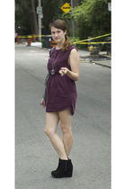 red wilfred dress - black Jeffrey Campbell shoes - gray deux lux purse