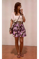 beige Topshop t-shirt - brown belt - purple theclosetqueenmultiplycom skirt - br