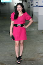 pink acbycheena dress - black Celine belt - black Syrup shoes