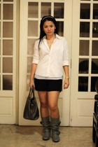 banana republic shirt - energie top - random shorts - Bumper boots