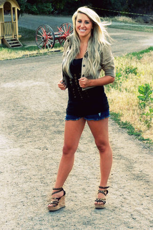 black top - blue shorts - gold jacket - white shoes - black skirt