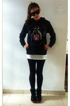 black Zara leggings - black Sheinside hoodie - black Jessica Buurman sneakers