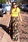 Yellow-t-shirt-maxi-asos-skirt