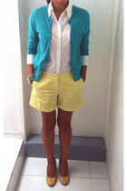 aquamarine J Crew sweater - white benetton shirt - light yellow J Crew shorts