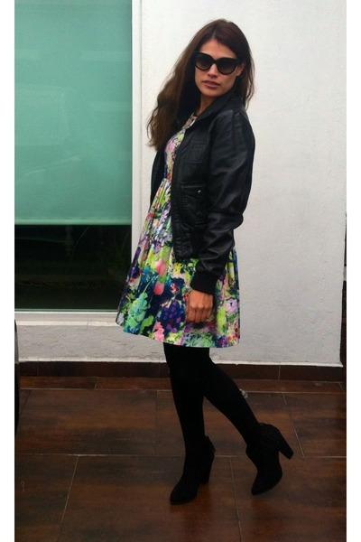 black ankle Bershka boots - Zara dress - black leather jacket
