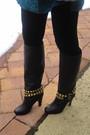 Black-dolce-vita-boots-black-forever-21-leggings-blue-heritage-1981-dress-