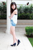 blue Zara shorts - navy Zara heels - white unbranded top