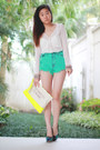Yellow-bershka-bag-aquamarine-love-culture-shorts-navy-aldo-heels
