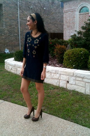 blue francescas dress - brown Jessica Simpson shoes