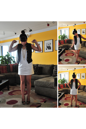 vintage vest - Rogan dress - Vince Camuto shoes