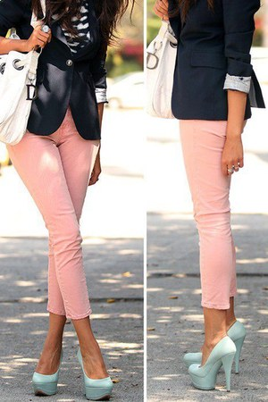 light pink jeans - black jacket - white dior bag - light blue heels