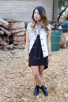 black Target boots - black Forever 21 dress - light blue denim Fire vest