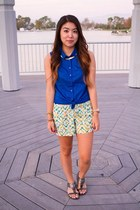 blue sleeveless Forever 21 shirt - lime green Target shorts