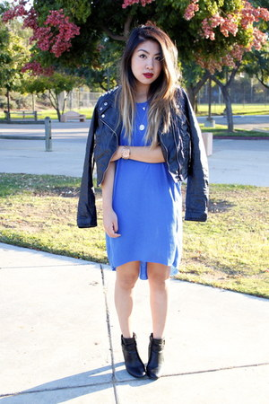 blue H&M dress - black Target boots - black Forever 21 jacket